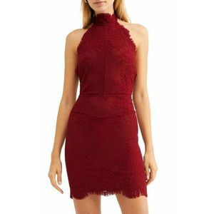 Intimately Free People Red Halter Lace Mini Dress